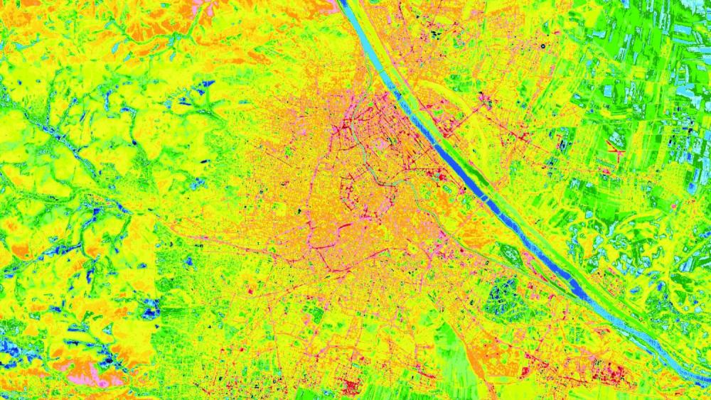 An evening thermal image of Vienna. The streets are clearly visible because of their high temperature