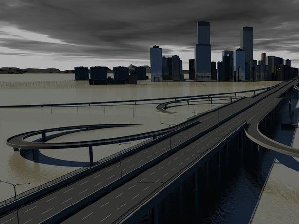 Illustration of how the rising sea level could become dagerous for the transportation network