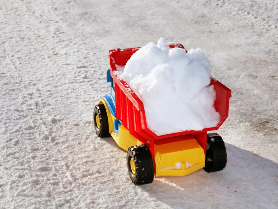 Toy truck loaded with snow