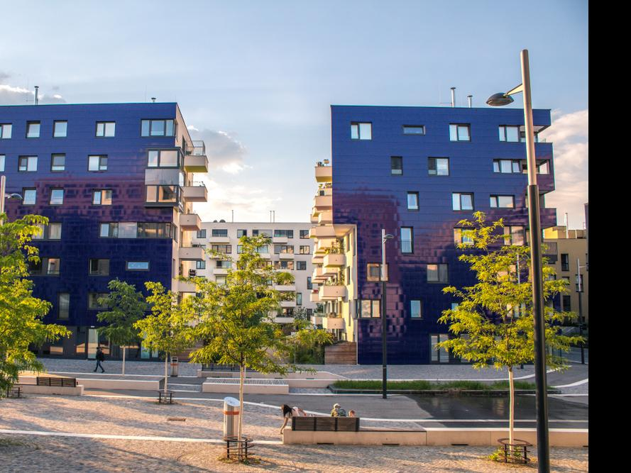 "Two modern buildings in the newly district ""Seestadt"" in Vienna"