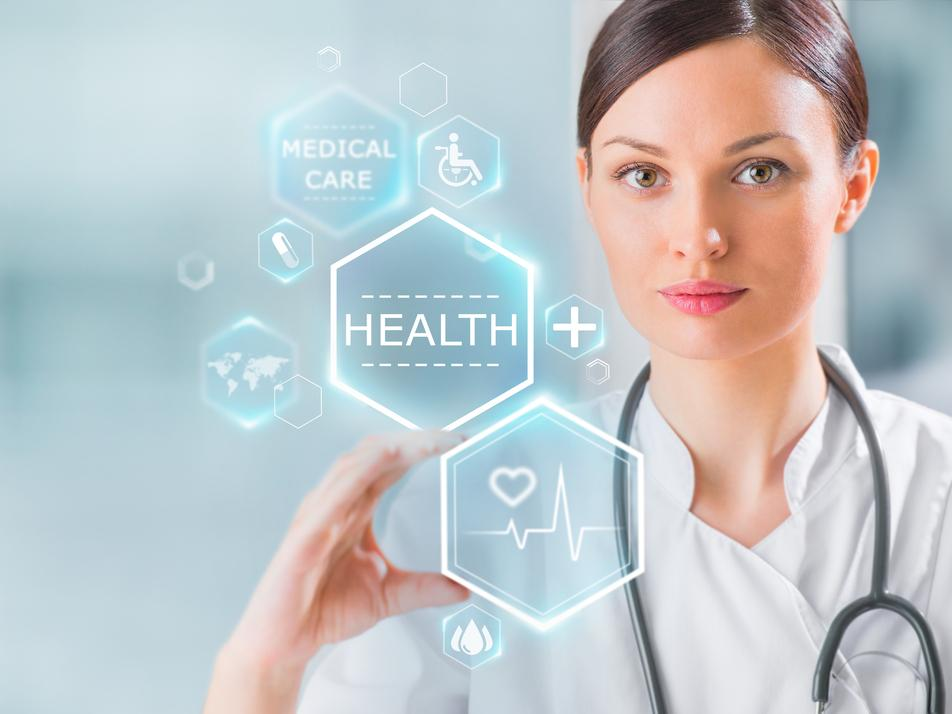 Woman in a white coat moves digital health symbols