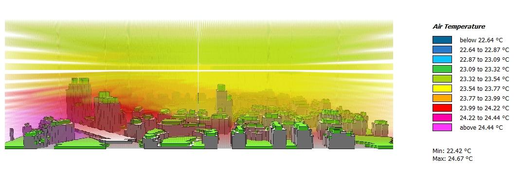 "Red and green colors show differences in air temperature on a simulated picture of the new urban development area ""Seestadt"" in Vienna."